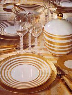 vajillas de oro para cena de 50 aniversario de casados