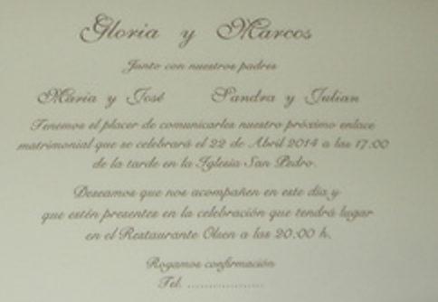 texto en tarjeta de invitación boda de oro
