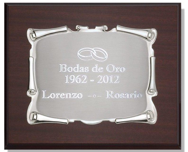 placas conmemorativas bodas de oro con texto sencillo